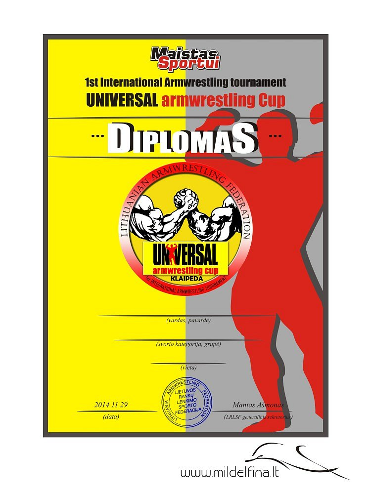 "Diplomas ""Universal armwrestling cup"""