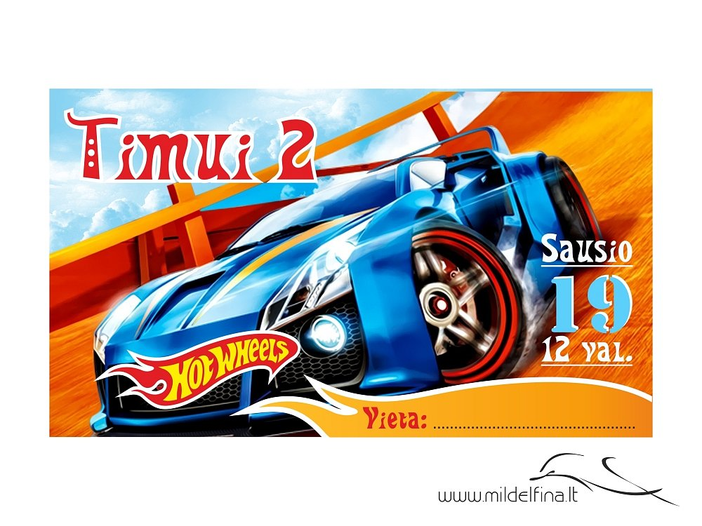 "Elektroninis kvietimas ""Hot Wheels 2"""